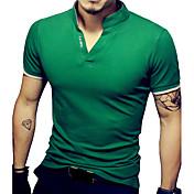 Camiseta De los hombres Un Color-Casual / Tallas Grandes-Algodón / Espándex-Manga Corta-Negro / Verde / Rojo / Blanco / Gris