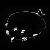 ネックレス/イヤリング ブライダルジュエリーセット 人造真珠 真珠 ラインストーン シルバー ネックレス イヤリング・ピアス のために 結婚式 パーティー 1セット ウェディングギフト