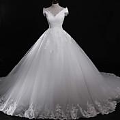 ドレスでアップリケレース付きのオフガウンのダウンタウンの大聖堂の電車チュールウェディングドレス