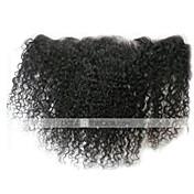 8-24 inch Negro Natural (#1B) Kinky Curly Cabello humano Cierre Castaño mediano Encaje Suizo 30-50 gramo Tamaño del casquillo