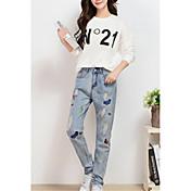 女性用 ストリートファッション 伸縮性なし ジーンズ パンツ, コットン 春 夏