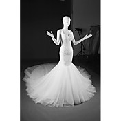 マーメイド/トランペットvネック大聖堂トレインチュールウェディングドレス
