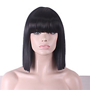 Mujer Pelucas sintéticas Medio Corte Recto Encrespado Negro Corte Bob Con flequillo Peluca de cosplay Pelucas para Disfraz