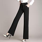 女性の広い脚オールスタイルのソリッドハイウエストボディコンビジネス/ワイドレッグパンツ、シンプルな青/赤/黒