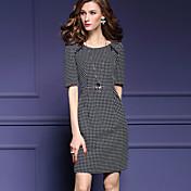 婦人向け ストリートファッション お出かけ / プラスサイズ ボディコン ドレス,水玉 ラウンドネック 膝上 ハーフスリーブ ブラック ポリエステル 秋