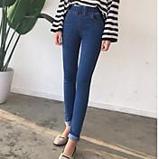 Mujer Casual Elástico Ajustado Empresa Pantalones,Un Color Algodón Primavera Verano