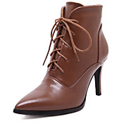 Mujer-Tacón Stiletto-Botas a la Moda-Botas-Exterior Vestido Informal-PU-Negro Marrón