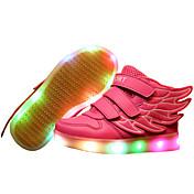 Chica Zapatillas de deporte Paseo Confort Zapatos con luz Semicuero Primavera Otoño Deportivo Casual Cinta Adhesiva LED Tacón PlanoBlanco
