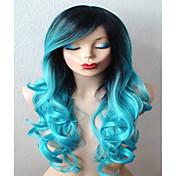 Mujer Pelucas sintéticas Largo Rizado humo azul Raíces oscuras Pelo Ombre Parte lateral Con flequillo Pelucas sin tapa Peluca de