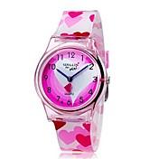 Børn Armbåndsur Quartz Farverig Plastik Bånd Hjerteformet Slik Sej Afslappet Pink Lys pink