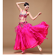 ベリーダンス セット 女性用 性能 ポリエステル シフォン オーガンザ スパンコール ビーズ スパンコール ドレープ タッセル フリル ラッフル ノースリーブ ローウエスト スカート ブラジャー ベルト