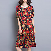De las mujeres Corte Ancho Vestido Noche / Tallas Grandes Sofisticado,Floral Escote Redondo Hasta la Rodilla Manga CortaRojo / Verde /