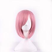 Mujer Pelucas sintéticas Corto Liso Rosa Parte lateral Corte Bob Con flequillo Peluca de cosplay Peluca de Halloween Peluca de carnaval