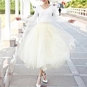 Mujer Simple Festivos Maxi Faldas,Línea A Tul Verano Un Color