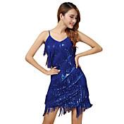 ダンスパフォーマンス ドレス 女性用 性能 ポリエステル スパンコール タッセル ノースリーブ ドレス