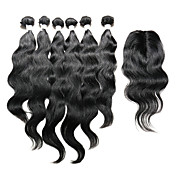 Indian Hair Natural Wave Hair Weft with C...
