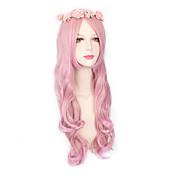 Ženy Růžová Vlnité Umělé vlasy na stroji Paruka Halloween Karnevalová paruka Přírodní paruka paruky