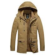 コート ロング パッド入り メンズ,カジュアル/普段着 ソリッド コットン 中綿なし-ヴィンテージ 長袖 フード付き