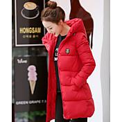 Abrigo Regular Largo Mujer Simple Noche,Un Color Poliéster Plumón de Pato Blanco Cuello Alto Manga Larga,Azul Rosa Rojo Blanco Negro Gris