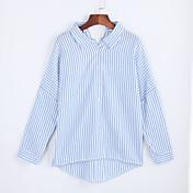 女性用 シャツ シャツカラー ストライプ ポリエステル