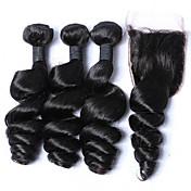 Trama del pelo con cierre Cabello Malayo Ondulado Amplio 12 meses 4 Piezas los tejidos de pelo