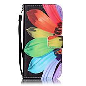 Funda Para Apple Funda iPhone 5 iPhone 6 iPhone 7 Soporte de Coche Cartera con Soporte Flip Diseños En Relieve Funda de Cuerpo Entero Flor