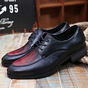 メンズ 靴 PUレザー 夏 コンフォートシューズ オックスフォードシューズ 用途 カジュアル イエロー Brown レッド