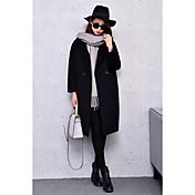 Mujer Bonito Un Color Abrigo,Solapa de Pico Manga Larga Invierno Poliéster Beige Negro Marrón Gris Medio