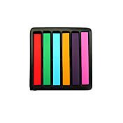 6 stick tiza del pelo del pelo desechable crayón para colorear pluma gradiente mueren kit temporal salón de tinte color de pelo en colores