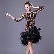 Baile Latino Vestidos Mujer Rendimiento Cristal algodón Organza Corte Volantes Manga 3/4 Cintura Alta Vestido