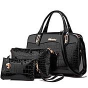 女性 バッグ オールシーズン ピッグスキン バッグセット 3個の財布セット リベット のために フォーマル ブラック パープル フクシャ レッド ブルー