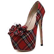 Mujer-Tacón Stiletto-Plataforma Innovador-Tacones-Oficina y Trabajo Vestido Informal Fiesta y Noche-Tejido-Rojo