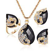 Mujer Cristal Diamante sintético Zafiro Sintético Esmeralda sintética Boda Fiesta Cristal Brillante Chapado en Oro Legierung Anillos 1