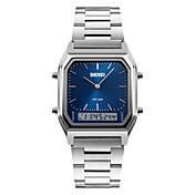 SKMEI Hombre Reloj de Pulsera Cuarzo Digital Despertador Calendario Cronógrafo Resistente al Agua LED Tres Husos Horarios Cronómetro