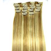 8pcs / set 24 pulgadas # 18/613 Remy extensiones de cabello humano de tipo extensión del pelo extensiones de cabello humano