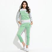 Mujer Tallas Grandes Activewear Deportes Bloques Microelástico Algodón Manga Larga Primavera Otoño