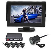renepai® 4.3 pulgadas coche vídeo de la cámara de visualización sensores de aparcamiento lcd 4 sonda de radar de reserva reverso 12v