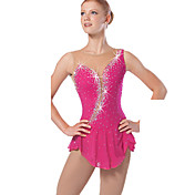 Vestido de patinaje artístico Mujer Chica Patinaje Sobre Hielo Vestidos Rosa Rojo Pedrería Lentejuela Alta elasticidad Ropa de Exterior