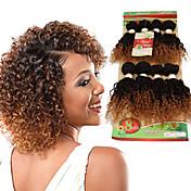 Cabello humano Cabello Brasileño Ombre Rizado Ondulado Extensiones de cabello 1 Pieza Negro / Strawberry Blonde Negro / castaño medio