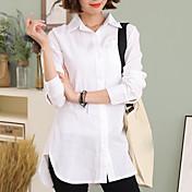 Mujer Simple Casual/Diario Trabajo Primavera Otoño Camisa,Cuello Camisero Un Color Manga Larga Algodón Lino Blanco Fino