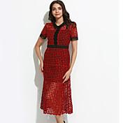 Mujer Vaina Vestido Noche Sofisticado,Un Color Cuello Camisero Midi Manga Corta Rojo / Morado Rayón Primavera Tiro Medio Microelástico