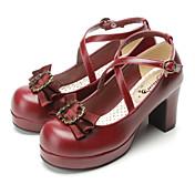 Zapatos Gosurori Amaloli Lolita Clásica y Tradicional Punk Wa Marinera Victoriano Inspiración Vintage Elegant Tacón alto Arco Lazo 7.5 CM