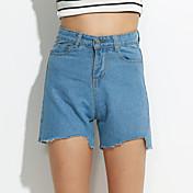 Mujer Casual Microelástico Shorts Vaqueros Pantalones,Un Color Algodón Verano