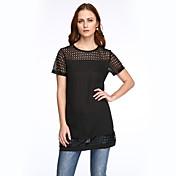 婦人向け ストリートファッション お出かけ プラスサイズ ドレス,パッチワーク ラウンドネック ミニ 半袖 ブラック ポリエステル 夏
