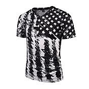 Hombre Activo Punk & Gótico Chic de Calle Fiesta Deportes Discoteca Estampado-Algodón Camiseta,Escote en Pico