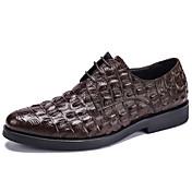Hombre Zapatos Cuero Primavera Otoño Zapatos formales Zapatos de boda Para Boda Fiesta y Noche Negro Café Borgoña