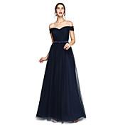 Corte en A Hasta el Suelo Satén Tul Vestido de Dama de Honor con Cinta / Lazo En Cruz por LAN TING BRIDE®