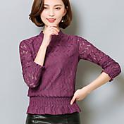 スリム2017春新しいレースのシャツ女性の長袖シャツは薄い中空の小さな襟のシャツTシャツ韓国語バージョンでした