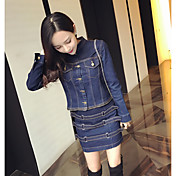 実際のショットのファッション人格のデニムジャケットのジッパージャケット+スリムパッケージヒップスカートスーツ