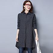 大きいサイズの女性のコートの長いセクション2017春新しい韓国の綿のストライプのシャツの女の子に署名